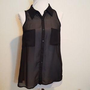 Decree, size medium, sheer black blouse
